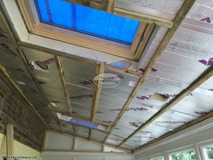 View of insulation inside a new warm roof conservatory