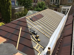 Tiled conservatory roof installation