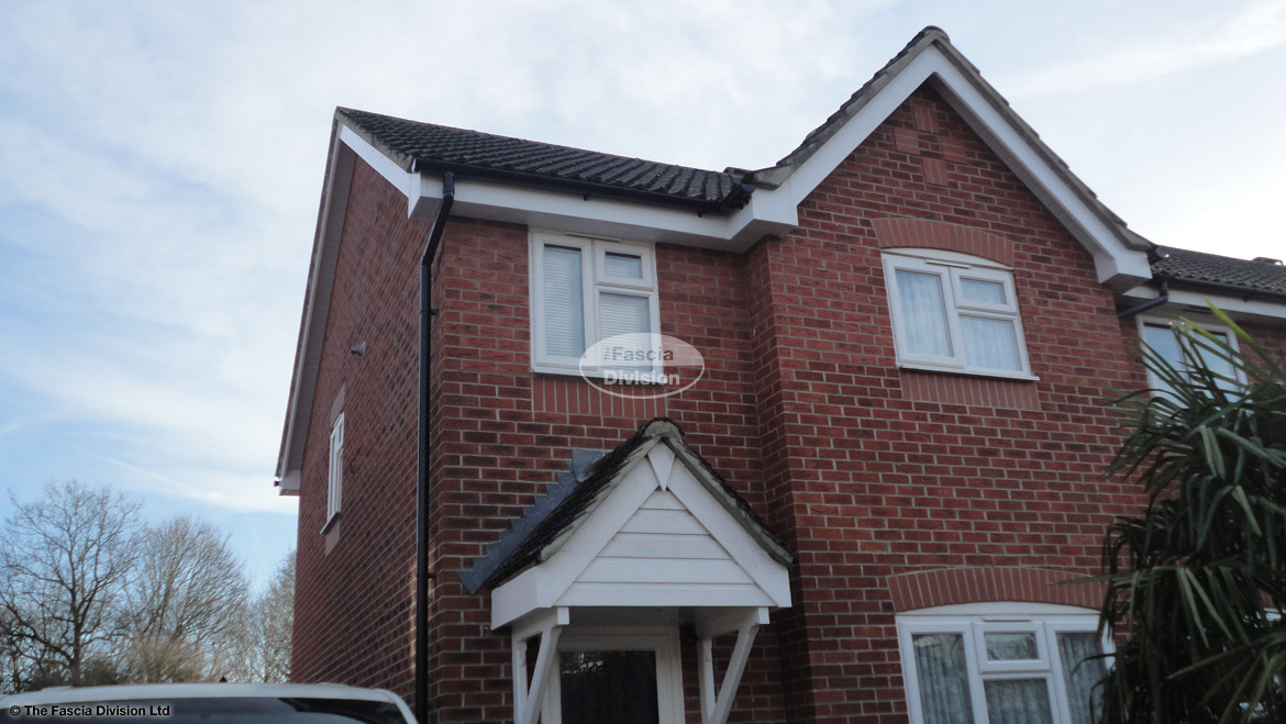 New installation black halfround guttering tongue grove soffit white fascia board Havant