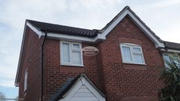White fascia soffit guttering havant recent installation tongue grove black downpipe