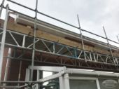 Scaffolding used to access and replace fascias, soffits and guttering